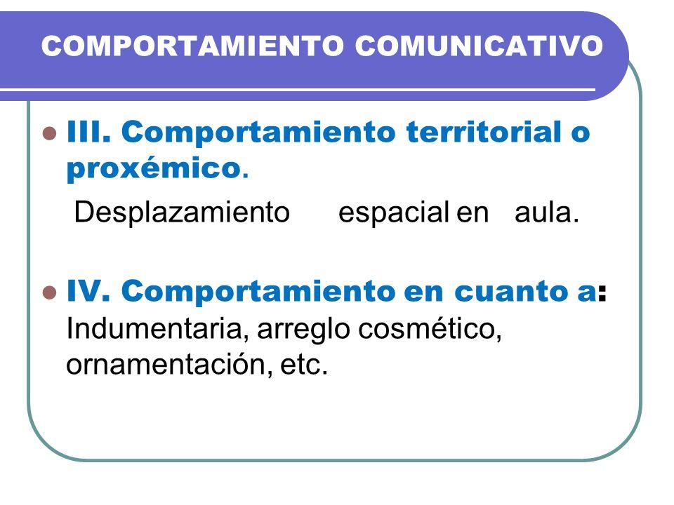 COMPORTAMIENTO COMUNICATIVO III. Comportamiento territorial o proxémico. Desplazamiento espacial en aula. IV. Comportamiento en cuanto a: Indumentaria