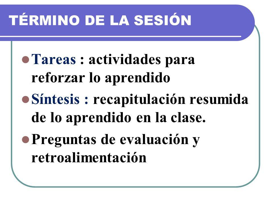 TÉRMINO DE LA SESIÓN Tareas : actividades para reforzar lo aprendido Síntesis : recapitulación resumida de lo aprendido en la clase. Preguntas de eval