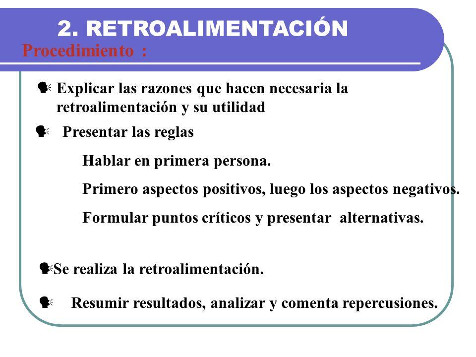 2. RETROALIMENTACIÓN Procedimiento : Explicar las razones que hacen necesaria la retroalimentación y su utilidad Presentar las reglas Hablar en primer