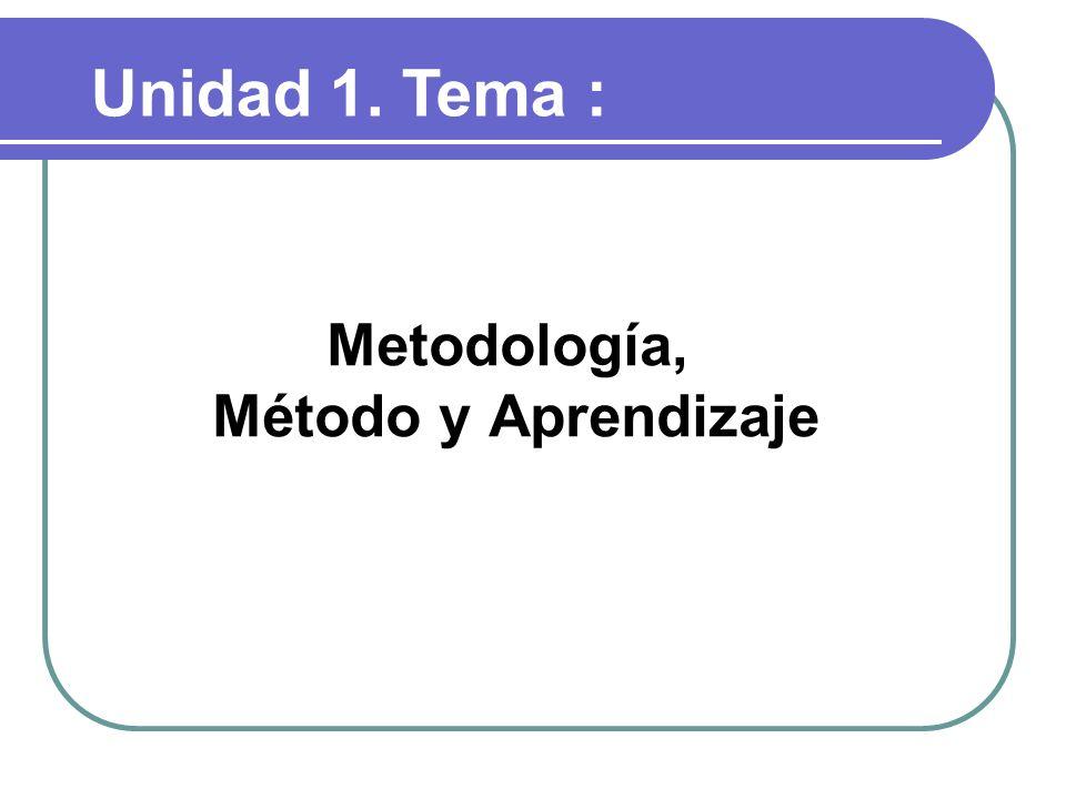 Unidad 1.Objetivos: Conceptualizar método y metodología en una formación basada en competencias.