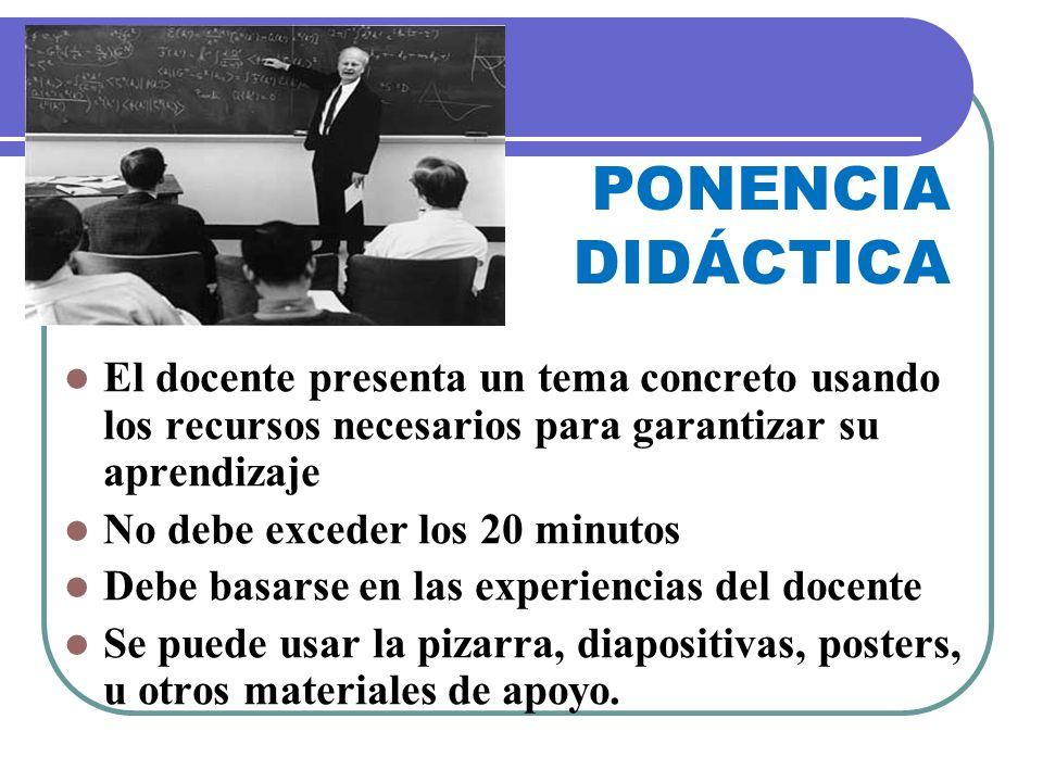 PONENCIA DIDÁCTICA El docente presenta un tema concreto usando los recursos necesarios para garantizar su aprendizaje No debe exceder los 20 minutos D