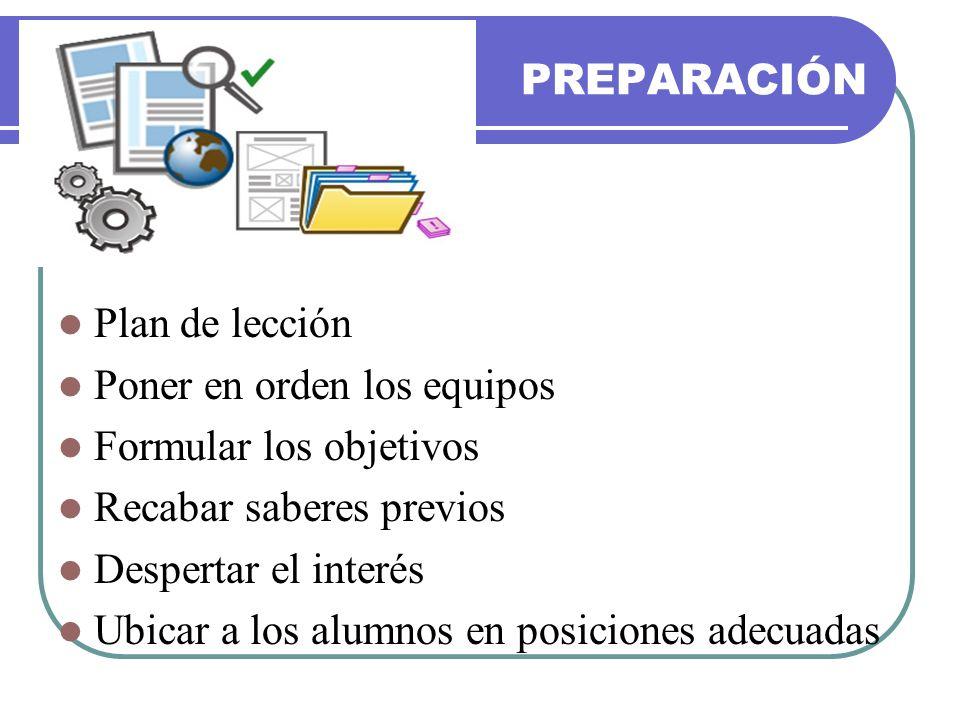 PREPARACIÓN Plan de lección Poner en orden los equipos Formular los objetivos Recabar saberes previos Despertar el interés Ubicar a los alumnos en pos