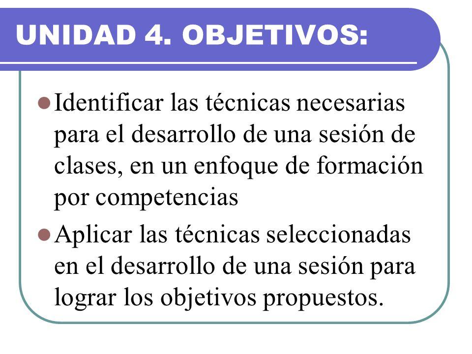 UNIDAD 4. OBJETIVOS: Identificar las técnicas necesarias para el desarrollo de una sesión de clases, en un enfoque de formación por competencias Aplic