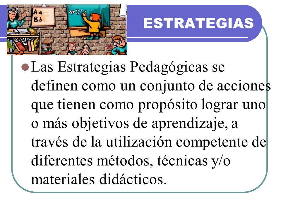 ESTRATEGIAS Las Estrategias Pedagógicas se definen como un conjunto de acciones que tienen como propósito lograr uno o más objetivos de aprendizaje, a