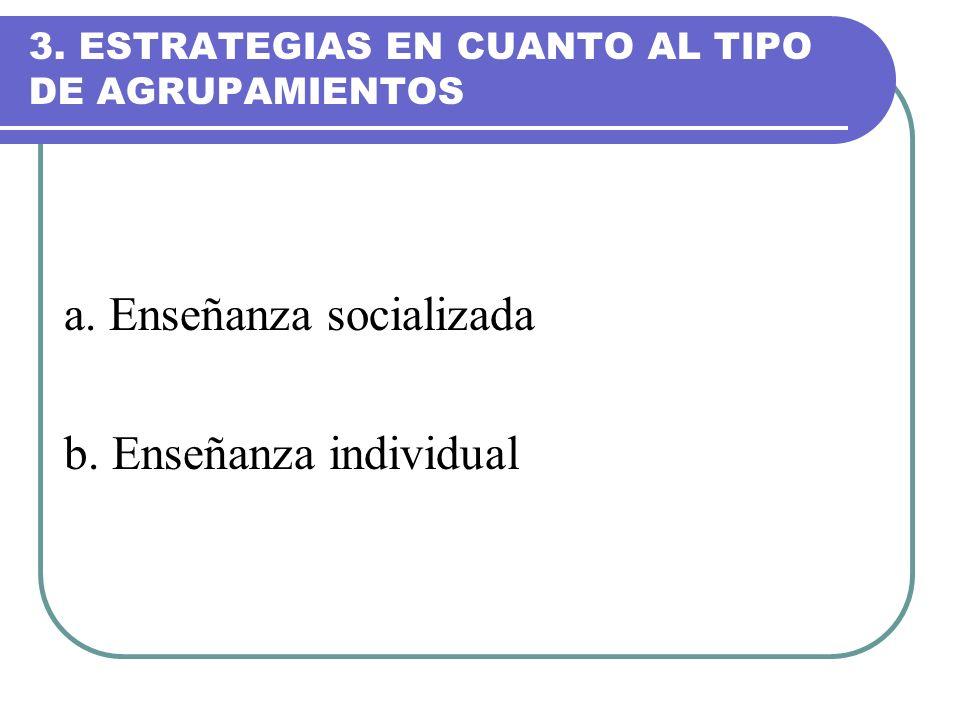 3. ESTRATEGIAS EN CUANTO AL TIPO DE AGRUPAMIENTOS a. Enseñanza socializada b. Enseñanza individual