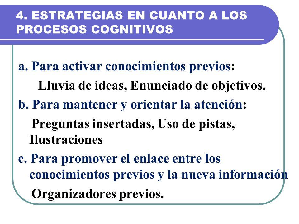 4. ESTRATEGIAS EN CUANTO A LOS PROCESOS COGNITIVOS a. Para activar conocimientos previos: Lluvia de ideas, Enunciado de objetivos. b. Para mantener y