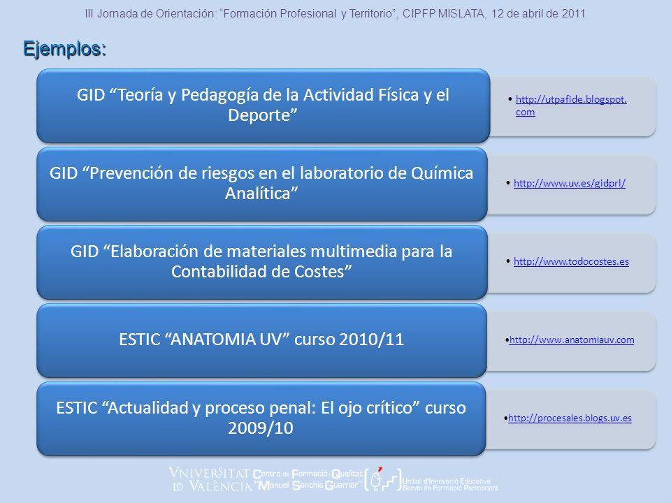 Ejemplos: III Jornada de Orientación: Formación Profesional y Territorio, CIPFP MISLATA, 12 de abril de 2011 http://utpafide.blogspot.