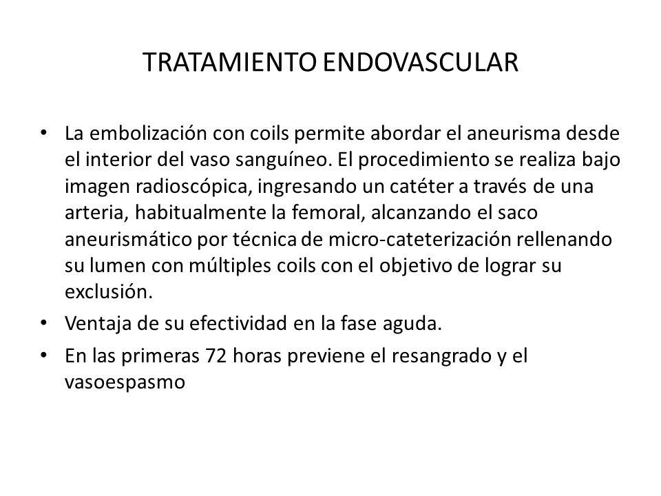 TRATAMIENTO ENDOVASCULAR La embolización con coils permite abordar el aneurisma desde el interior del vaso sanguíneo. El procedimiento se realiza bajo