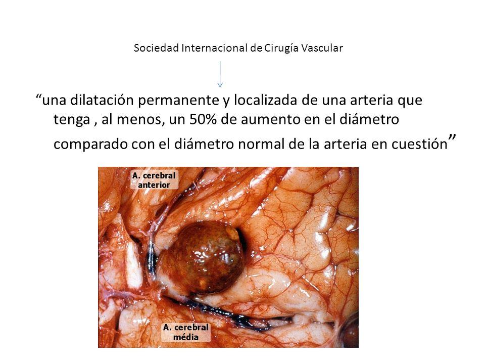 Es la presencia de una dilatación de la pared arterial Aumento simultáneo de su masa parietal por un intenso proceso inflamatorio localizado Disminuir tanto la capacidad de recuperación del diámetro arterial como el tono arterial ANEURISMA