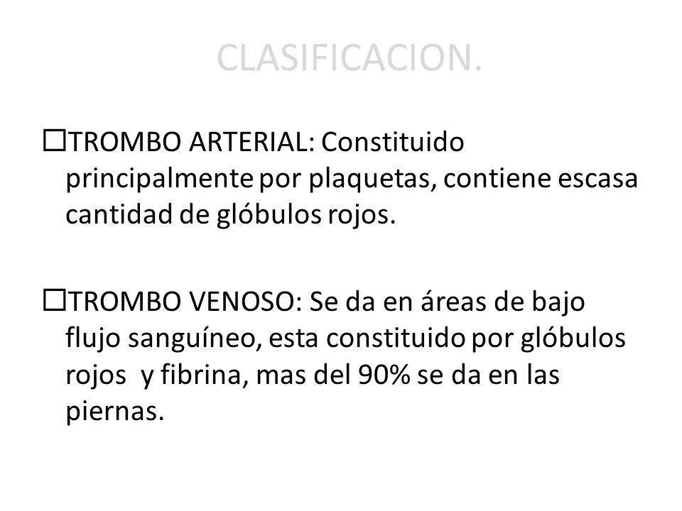 CLASIFICACION. TROMBO ARTERIAL: Constituido principalmente por plaquetas, contiene escasa cantidad de glóbulos rojos. TROMBO VENOSO: Se da en áreas de