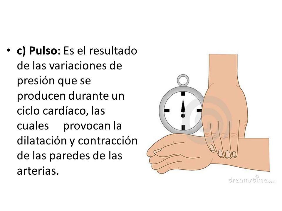 c) Pulso: Es el resultado de las variaciones de presión que se producen durante un ciclo cardíaco, las cuales provocan la dilatación y contracción de
