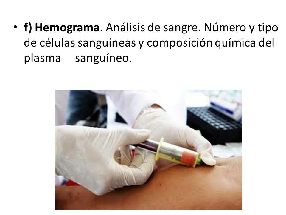 f) Hemograma. Análisis de sangre. Número y tipo de células sanguíneas y composición química del plasma sanguíneo.