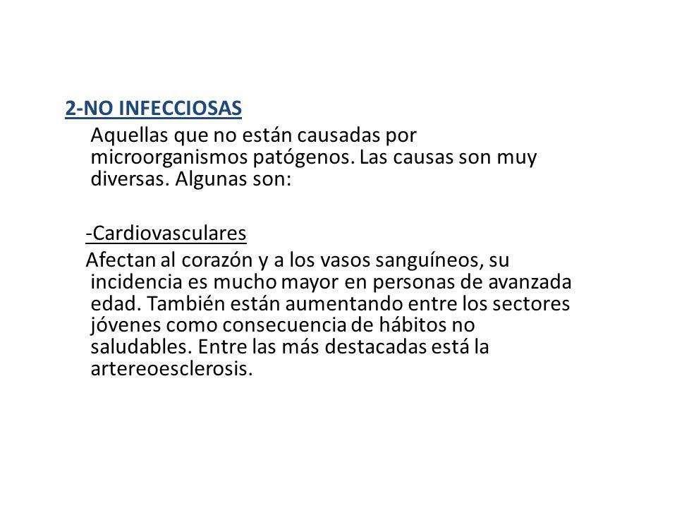 2-NO INFECCIOSAS Aquellas que no están causadas por microorganismos patógenos. Las causas son muy diversas. Algunas son: -Cardiovasculares Afectan al