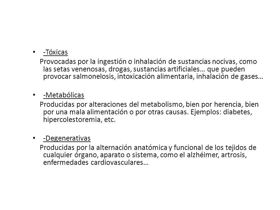 -Tóxicas Provocadas por la ingestión o inhalación de sustancias nocivas, como las setas venenosas, drogas, sustancias artificiales… que pueden provoca