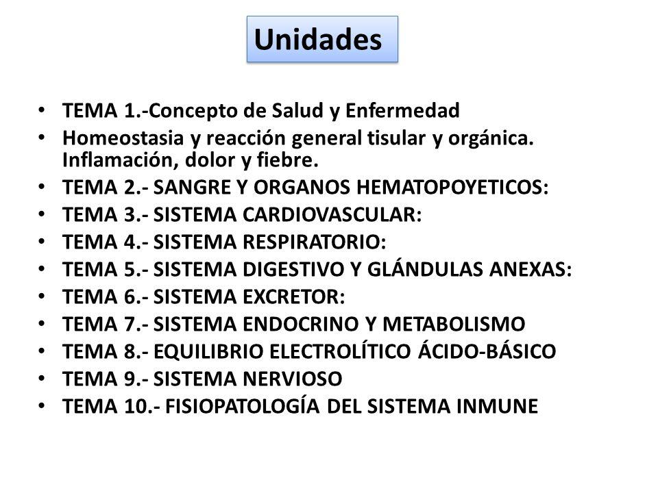 Unidades TEMA 1.-Concepto de Salud y Enfermedad Homeostasia y reacción general tisular y orgánica. Inflamación, dolor y fiebre. TEMA 2.- SANGRE Y ORGA