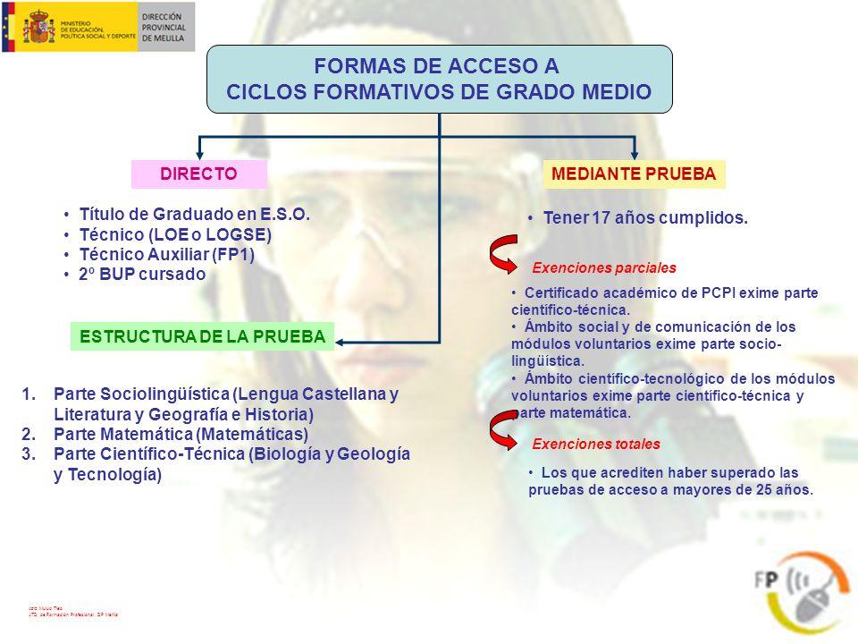FORMAS DE ACCESO A CICLOS FORMATIVOS DE GRADO MEDIO DIRECTOMEDIANTE PRUEBA Título de Graduado en E.S.O. Técnico (LOE o LOGSE) Técnico Auxiliar (FP1) 2