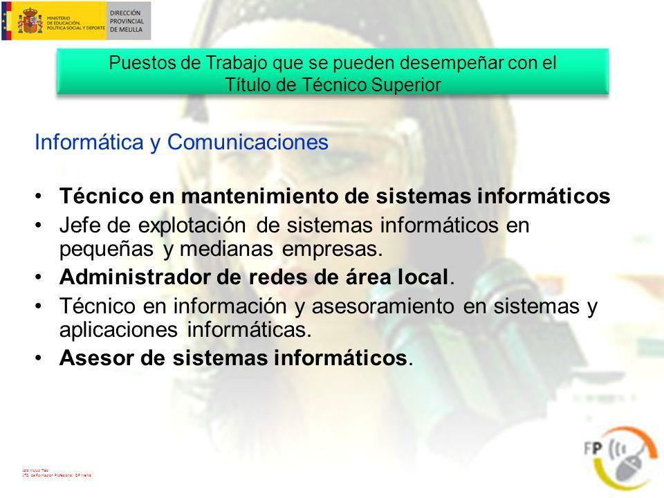Aziz Mulud Tieb ATD de Formación Profesional. DP Melilla Informática y Comunicaciones Técnico en mantenimiento de sistemas informáticos Jefe de explot