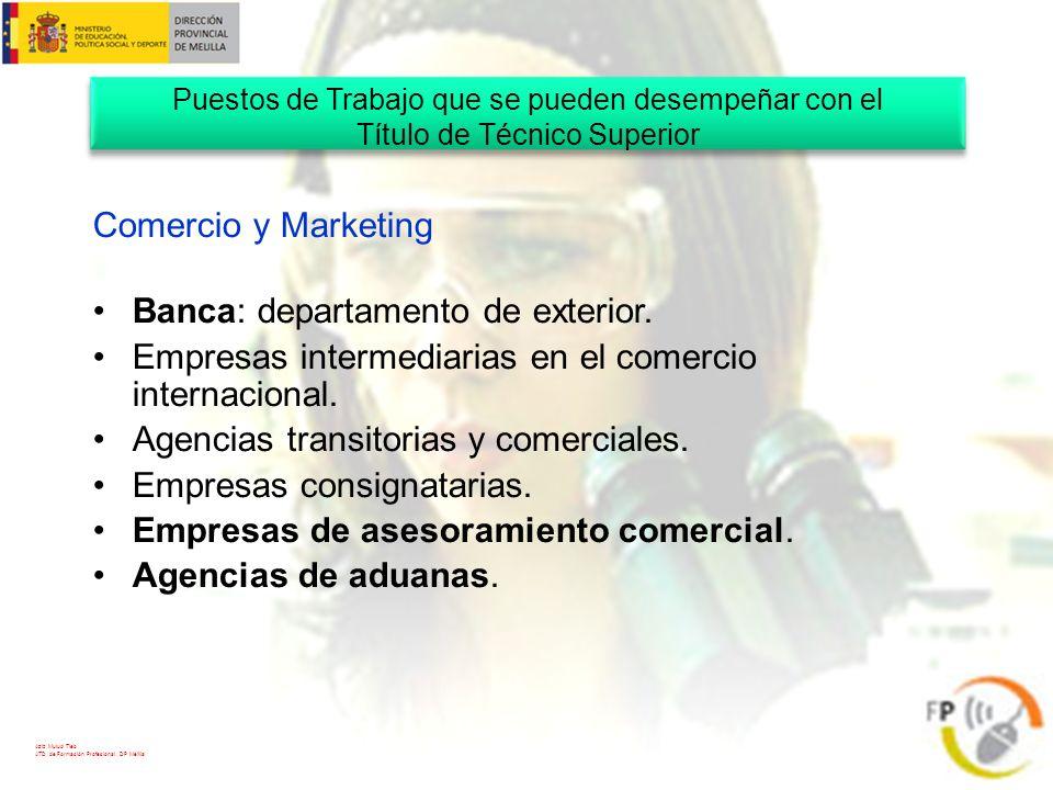 Aziz Mulud Tieb ATD de Formación Profesional. DP Melilla Comercio y Marketing Banca: departamento de exterior. Empresas intermediarias en el comercio