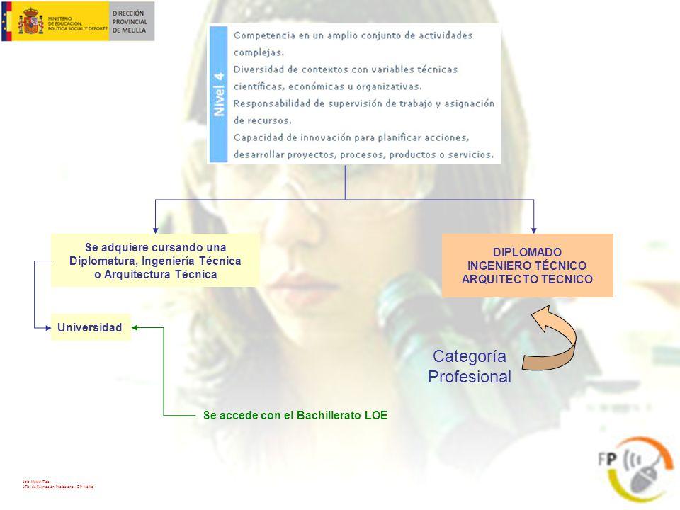 DIPLOMADO INGENIERO TÉCNICO ARQUITECTO TÉCNICO Categoría Profesional Se adquiere cursando una Diplomatura, Ingeniería Técnica o Arquitectura Técnica U