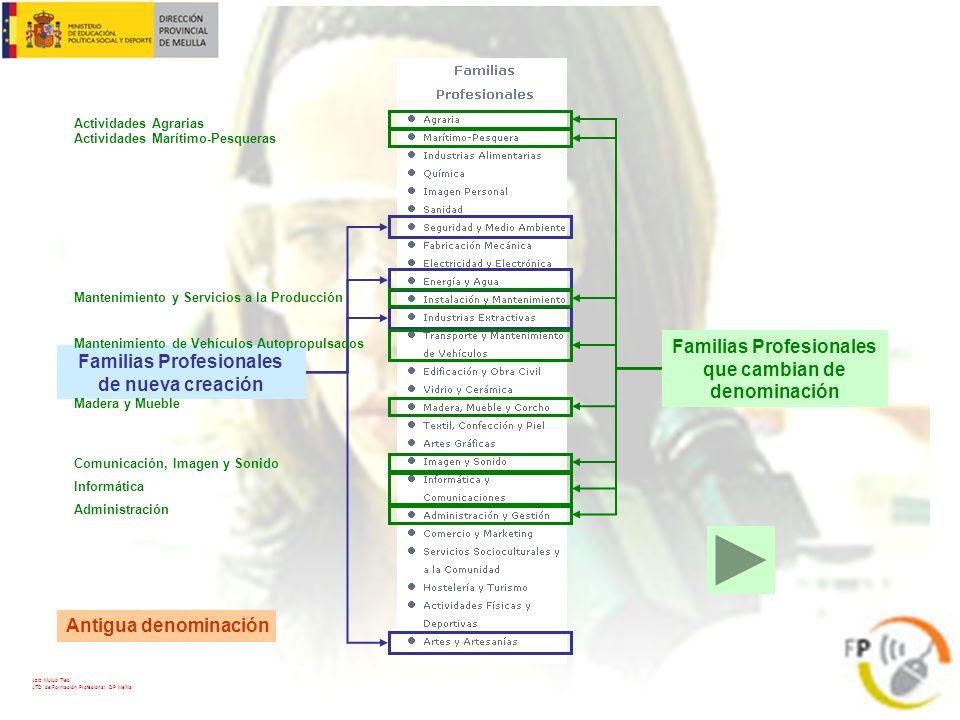 Familias Profesionales de nueva creación Familias Profesionales que cambian de denominación Actividades Agrarias Administración Comunicación, Imagen y