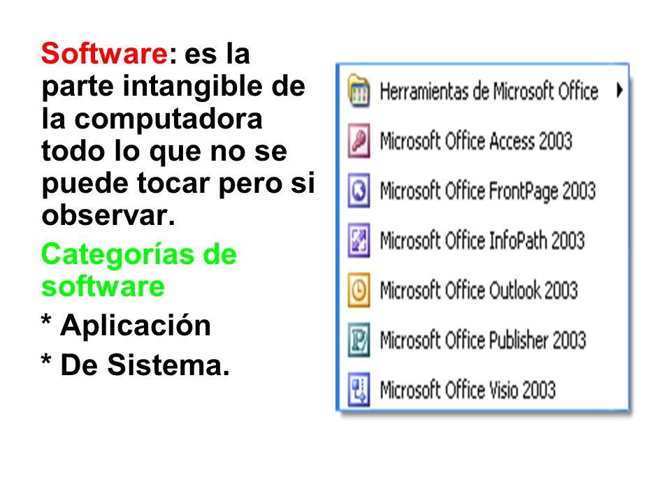 Software: es la parte intangible de la computadora todo lo que no se puede tocar pero si observar. Categorías de software * Aplicación * De Sistema.