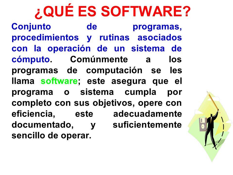 ¿QUÉ ES SOFTWARE? Conjunto de programas, procedimientos y rutinas asociados con la operación de un sistema de cómputo. Comúnmente a los programas de c