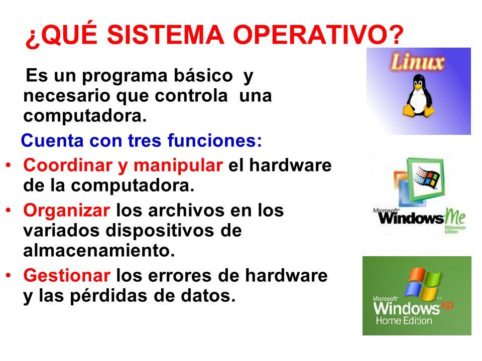 ¿QUÉ SISTEMA OPERATIVO? Es un programa básico y necesario que controla una computadora. Cuenta con tres funciones: Coordinar y manipular el hardware d