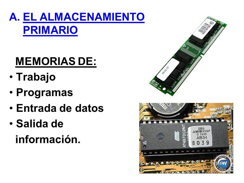 A.EL ALMACENAMIENTO PRIMARIO MEMORIAS DE: Trabajo Programas Entrada de datos Salida de información.