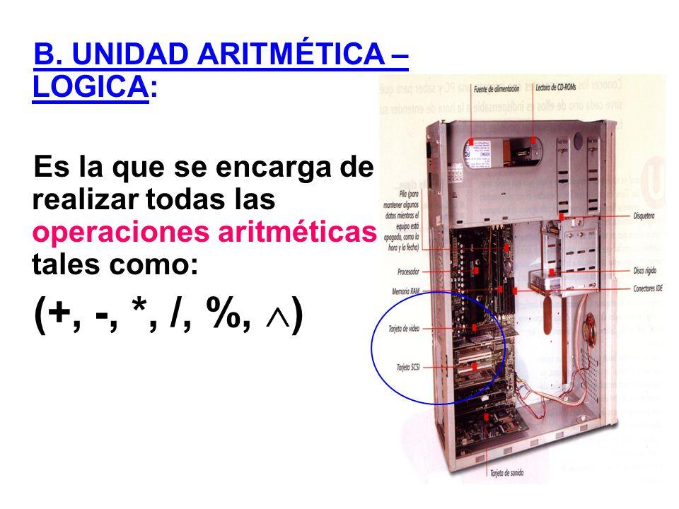 B. UNIDAD ARITMÉTICA – LOGICA: Es la que se encarga de realizar todas las operaciones aritméticas tales como: (+, -, *, /, %, )