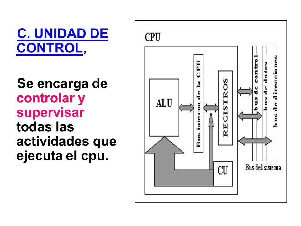 C. UNIDAD DE CONTROL, Se encarga de controlar y supervisar todas las actividades que ejecuta el cpu.