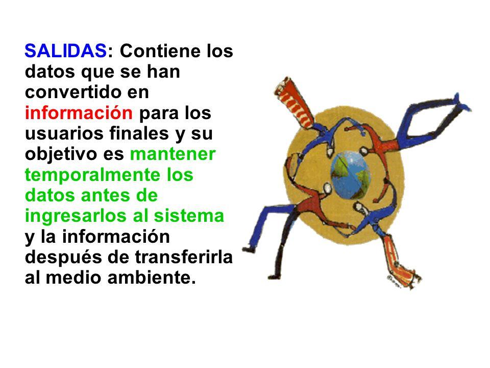 SALIDAS: Contiene los datos que se han convertido en información para los usuarios finales y su objetivo es mantener temporalmente los datos antes de