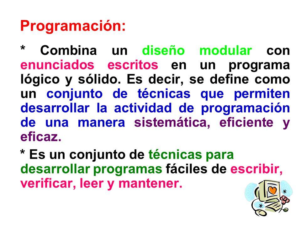 Programación: * Combina un diseño modular con enunciados escritos en un programa lógico y sólido. Es decir, se define como un conjunto de técnicas que
