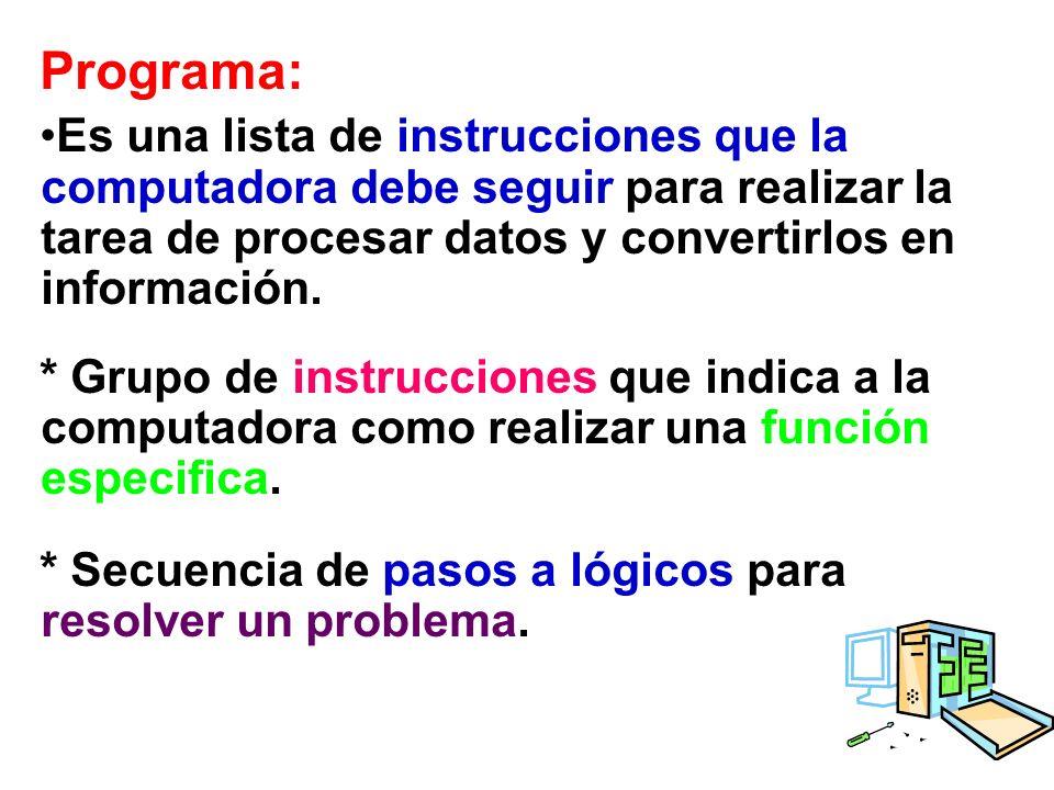 Programa: Es una lista de instrucciones que la computadora debe seguir para realizar la tarea de procesar datos y convertirlos en información. * Grupo