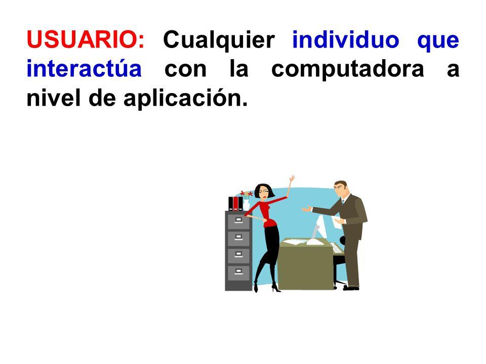 USUARIO: Cualquier individuo que interactúa con la computadora a nivel de aplicación.