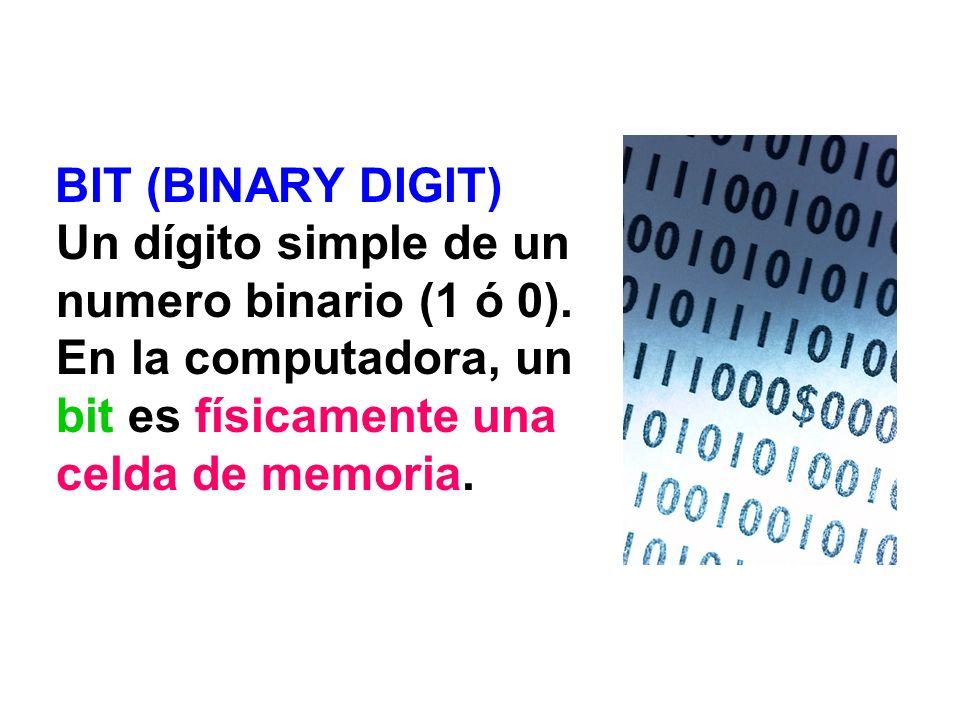 BIT (BINARY DIGIT) Un dígito simple de un numero binario (1 ó 0). En la computadora, un bit es físicamente una celda de memoria.