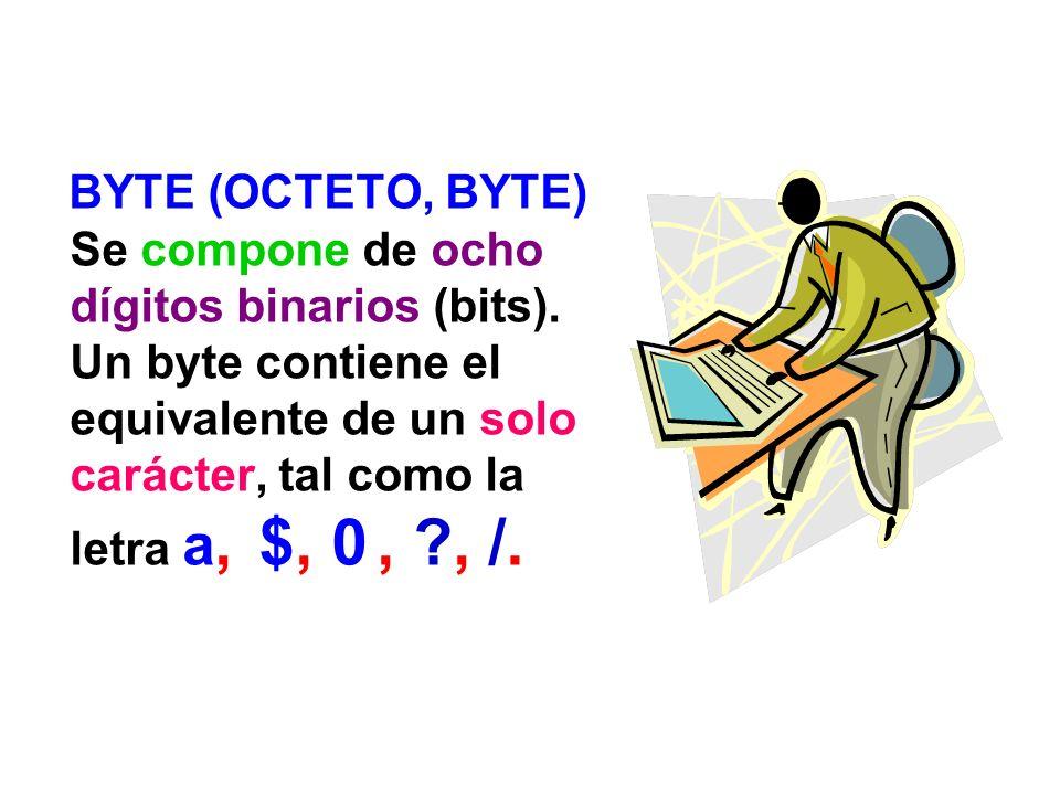 BYTE (OCTETO, BYTE) Se compone de ocho dígitos binarios (bits). Un byte contiene el equivalente de un solo carácter, tal como la letra a, $, 0, ?, /.