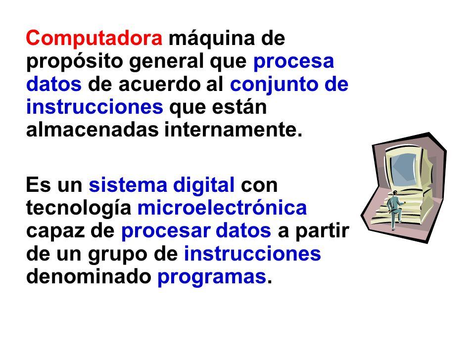 Computadora máquina de propósito general que procesa datos de acuerdo al conjunto de instrucciones que están almacenadas internamente. Es un sistema d