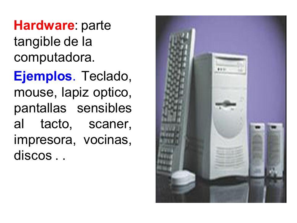 Hardware: parte tangible de la computadora. Ejemplos. Teclado, mouse, lapiz optico, pantallas sensibles al tacto, scaner, impresora, vocinas, discos..