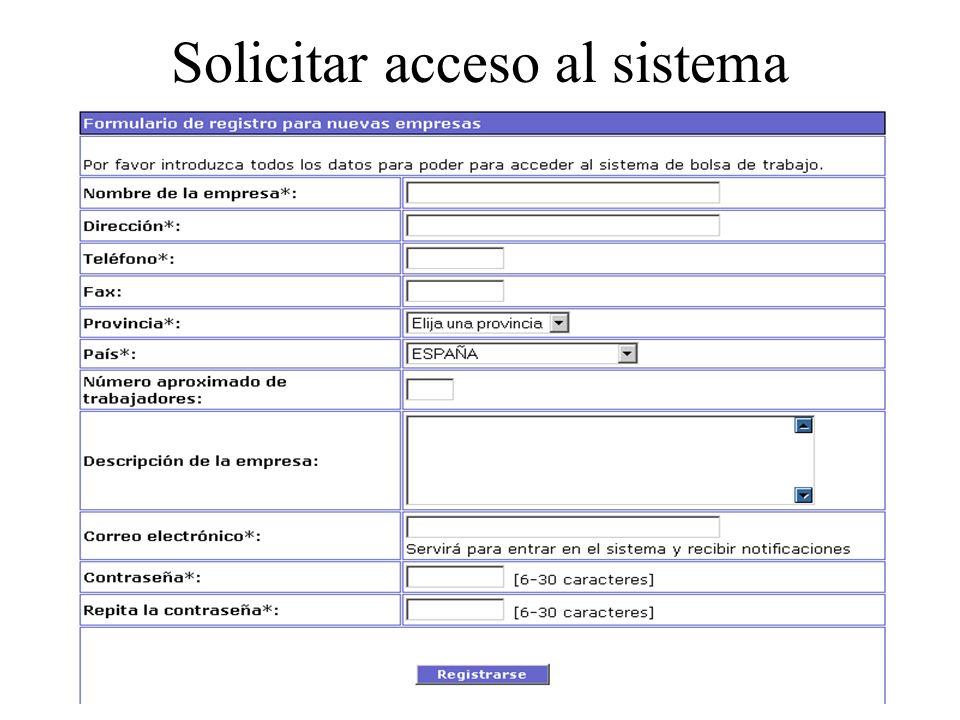 Solicitar acceso al sistema