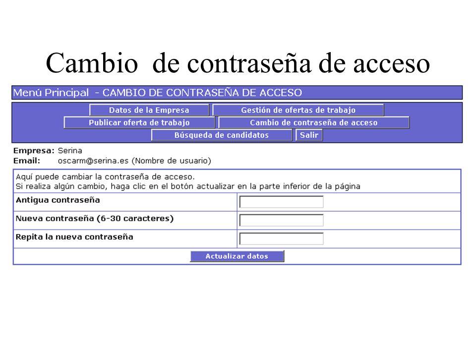 Cambio de contraseña de acceso