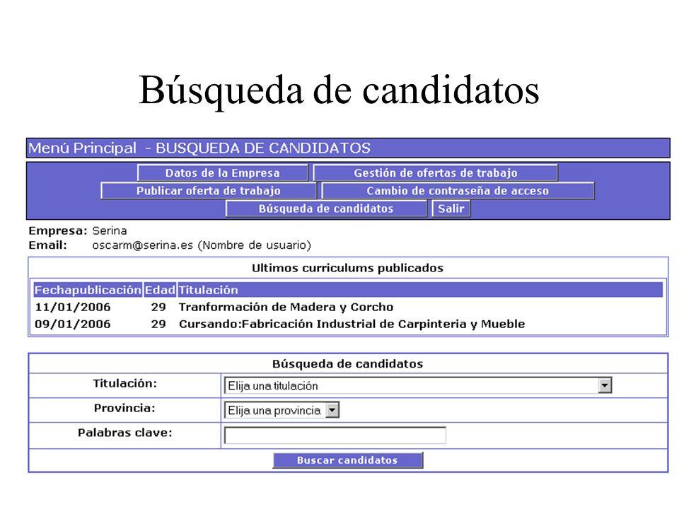 Búsqueda de candidatos