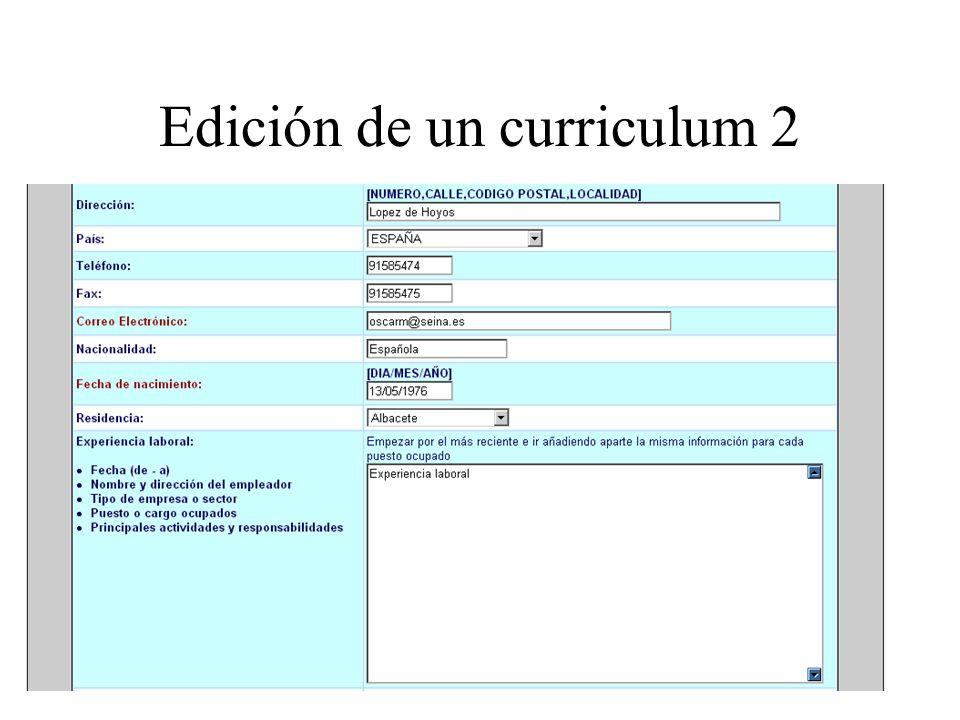 Edición de un curriculum 2