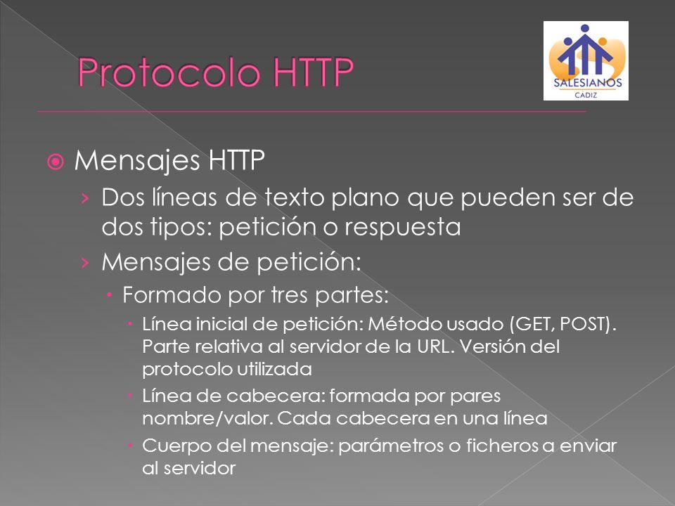 Mensajes HTTP Dos líneas de texto plano que pueden ser de dos tipos: petición o respuesta Mensajes de petición: Formado por tres partes: Línea inicial