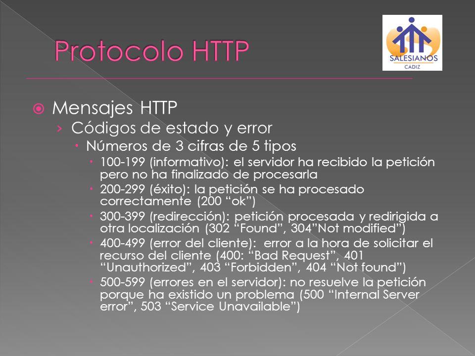 Mensajes HTTP Códigos de estado y error Números de 3 cifras de 5 tipos 100-199 (informativo): el servidor ha recibido la petición pero no ha finalizad