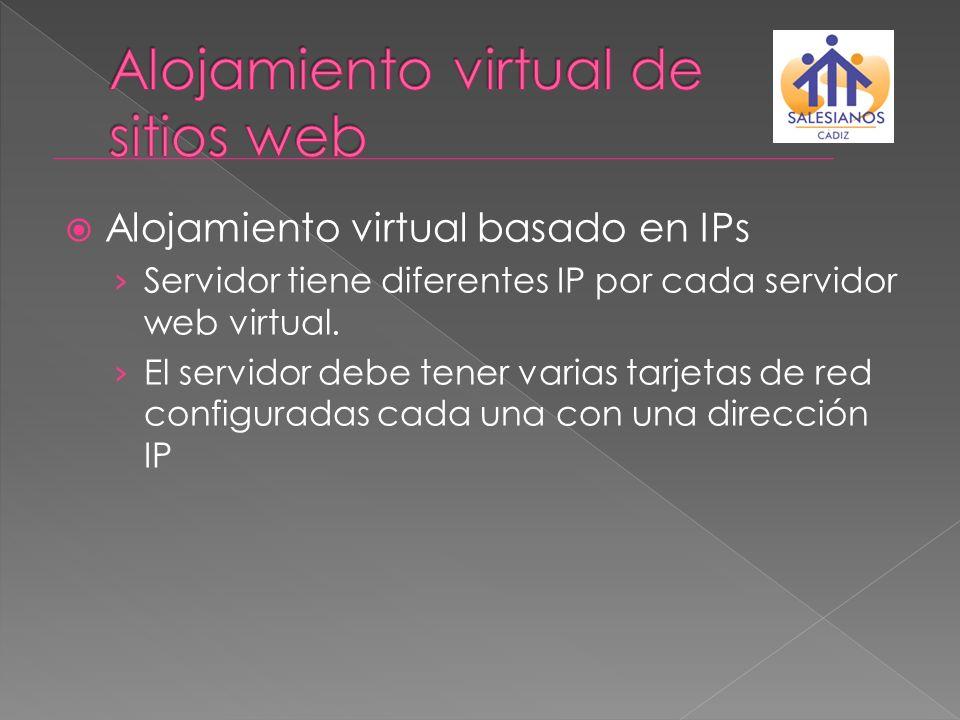 Alojamiento virtual basado en IPs Servidor tiene diferentes IP por cada servidor web virtual. El servidor debe tener varias tarjetas de red configurad