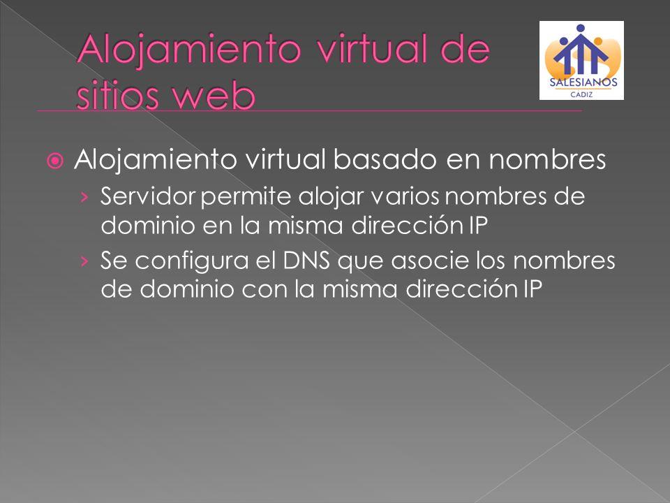 Alojamiento virtual basado en nombres Servidor permite alojar varios nombres de dominio en la misma dirección IP Se configura el DNS que asocie los no