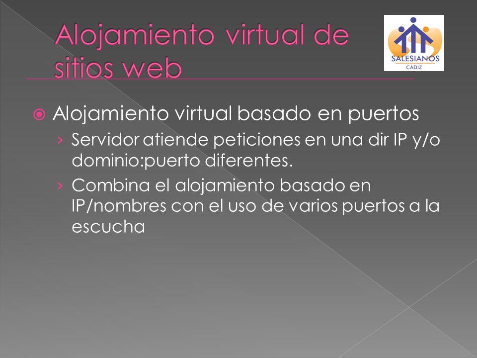 Alojamiento virtual basado en puertos Servidor atiende peticiones en una dir IP y/o dominio:puerto diferentes. Combina el alojamiento basado en IP/nom