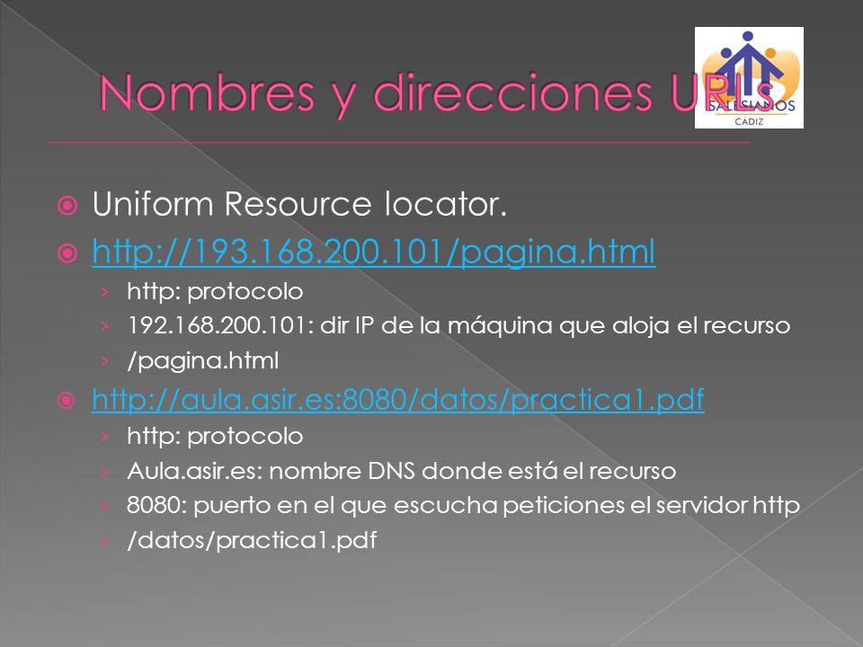 Uniform Resource locator. http://193.168.200.101/pagina.html http: protocolo 192.168.200.101: dir IP de la máquina que aloja el recurso /pagina.html h