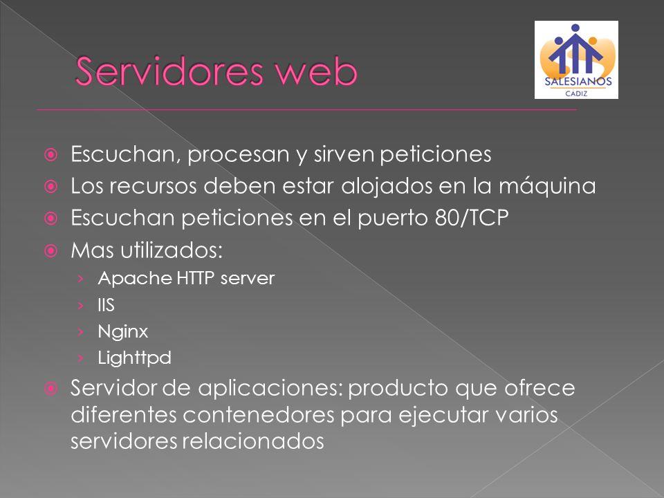 Alojamiento virtual basado en puertos Servidor atiende peticiones en una dir IP y/o dominio:puerto diferentes.