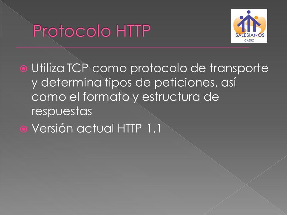 Utiliza TCP como protocolo de transporte y determina tipos de peticiones, así como el formato y estructura de respuestas Versión actual HTTP 1.1